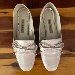 Zara patent loafer in blush nude pink